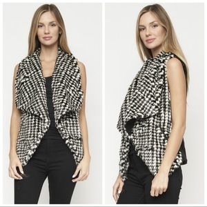 NEW Faux Fur Black White Houndstooth Vest